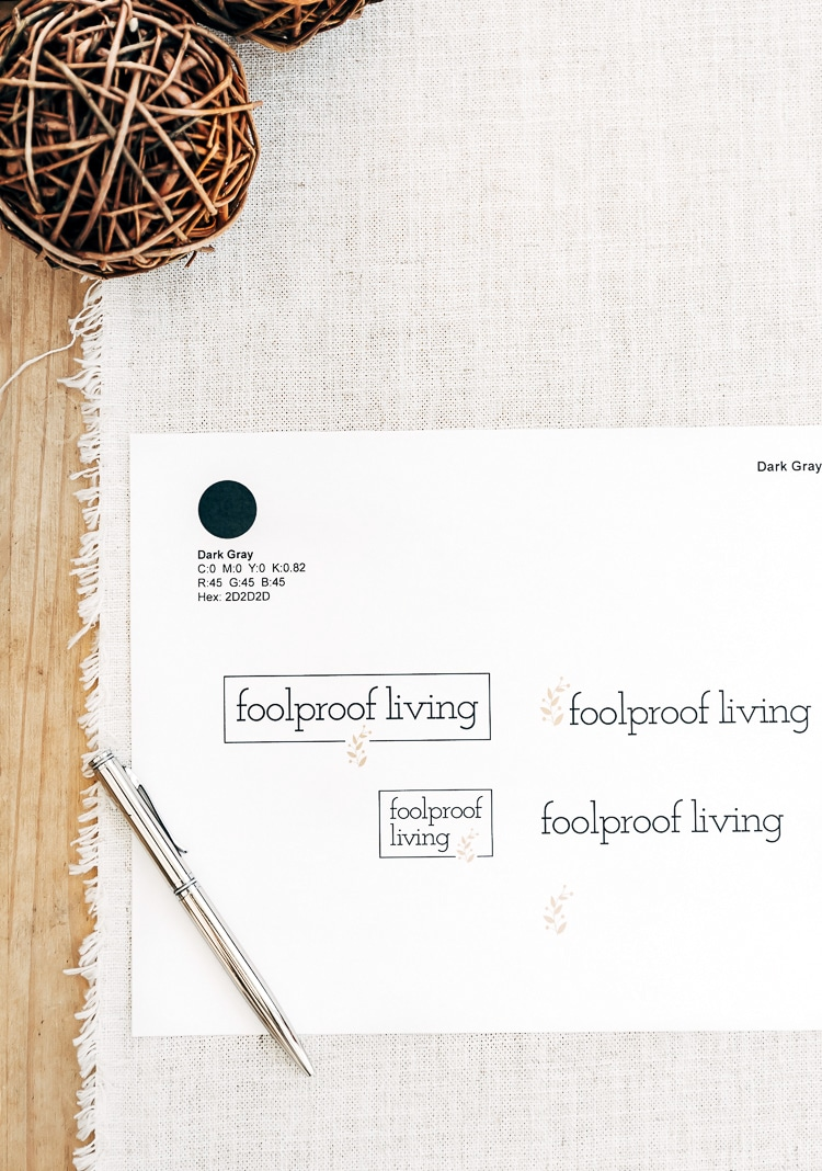 Different variations of Foolproof Living's logo are photographed from the top view.