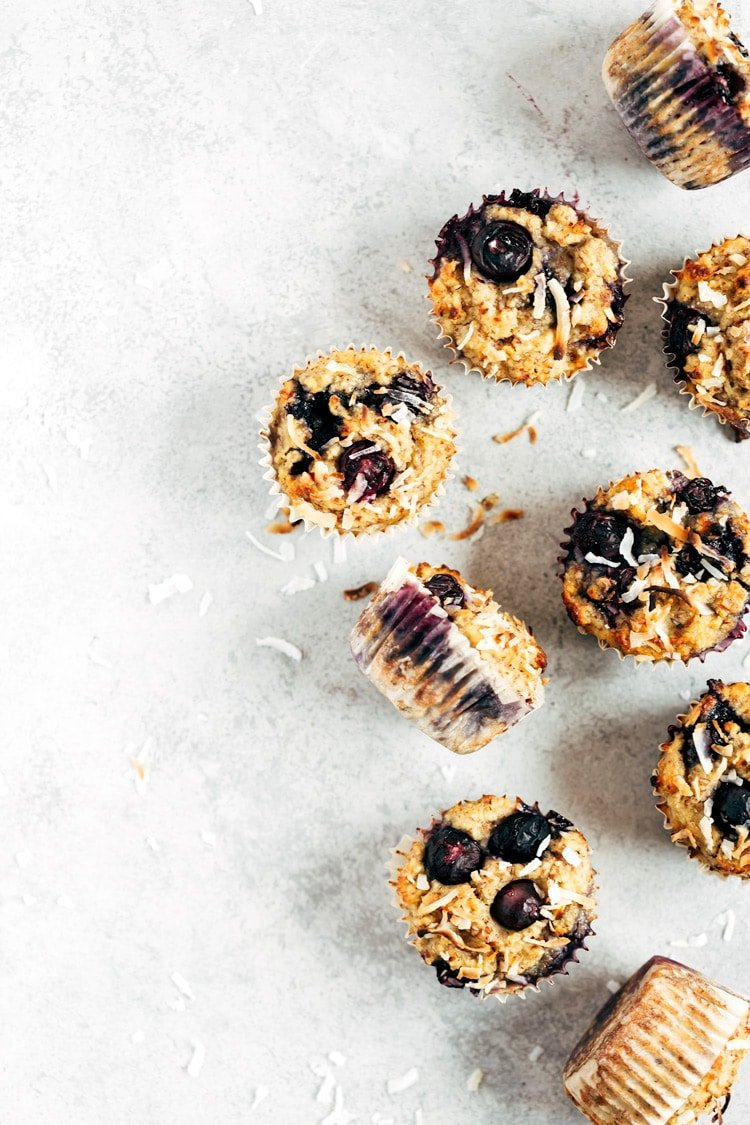 One of the recipes with Almond Flour Recipes Round Up: Flourless Blueberry Muffins photographed from the top view.