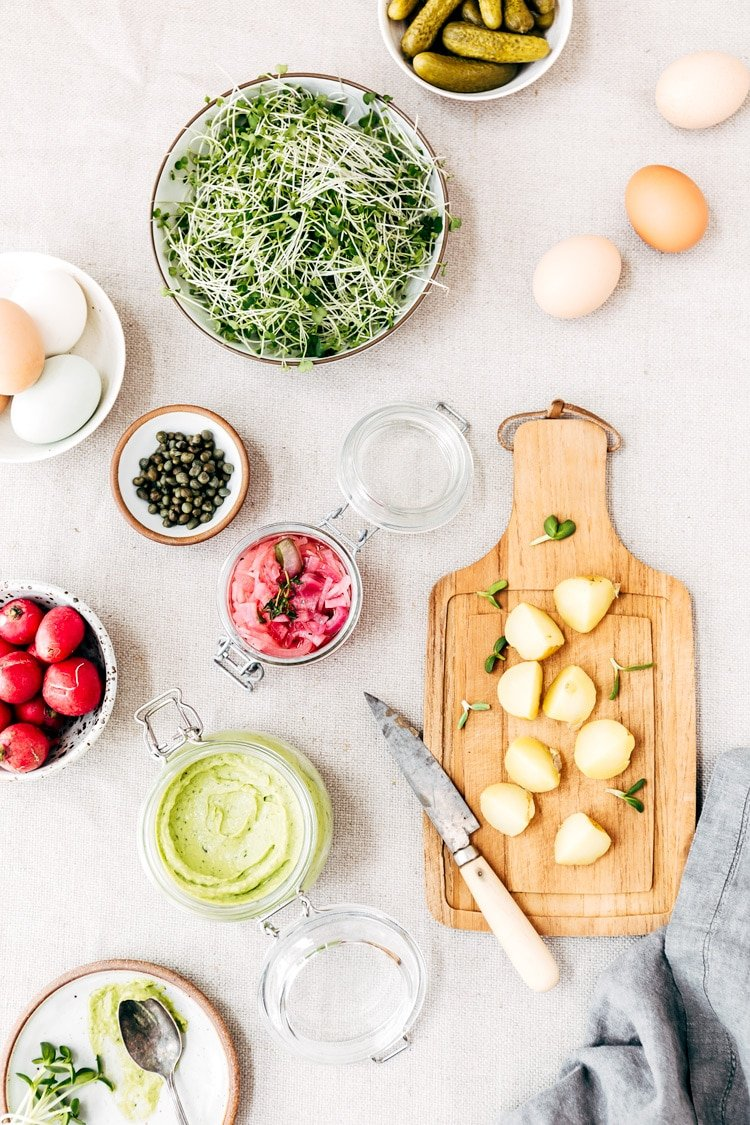 Ingredients for Deviled Potato Salad are photographed from the top view