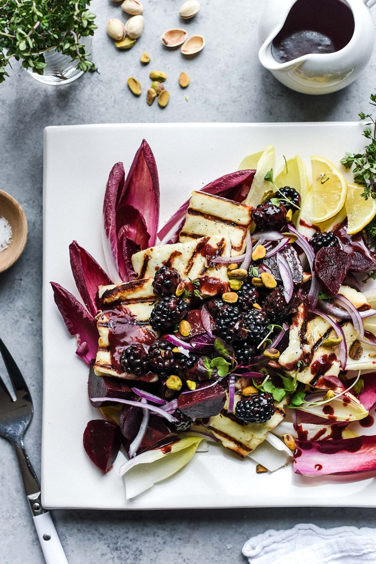One of the healthy spring salad recipes is this HALLOUMI SALAD WITH BEETS AND BLACKBERRIES