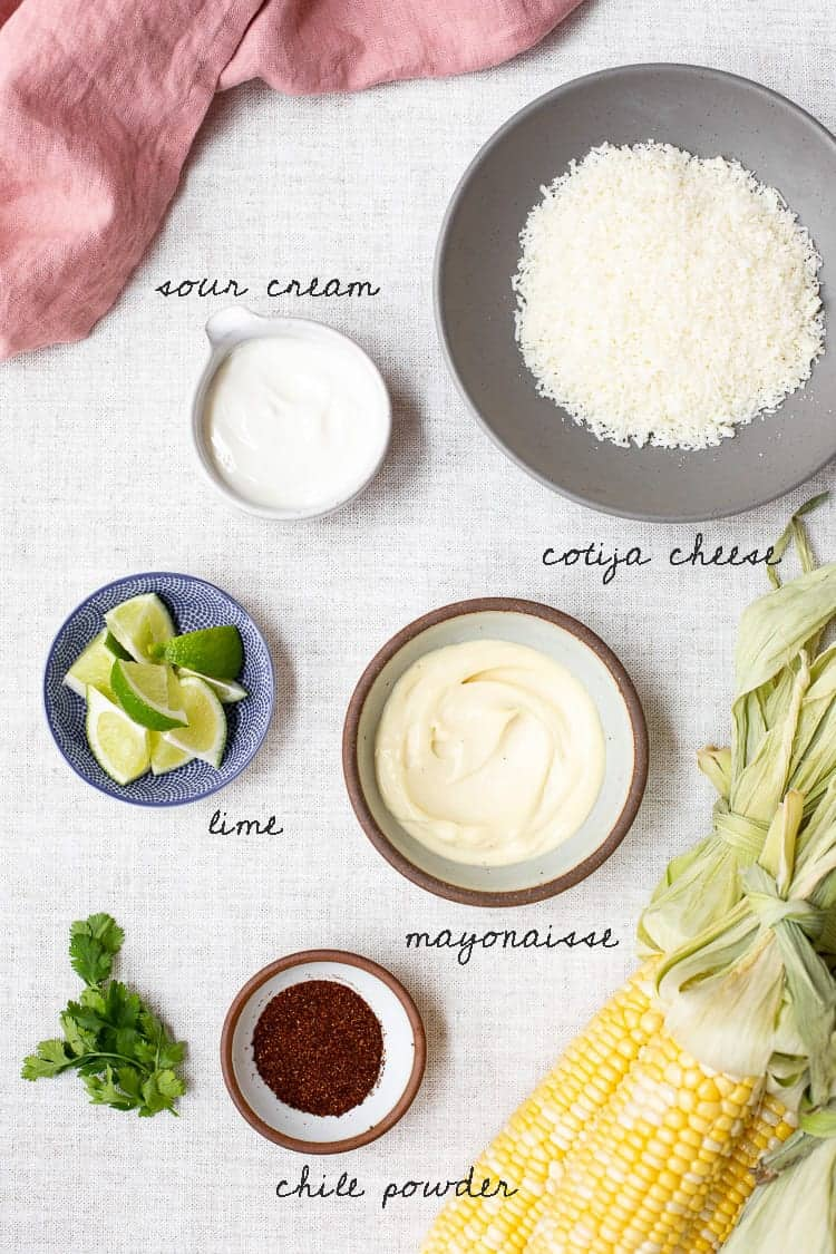 Elote ingredients laid out