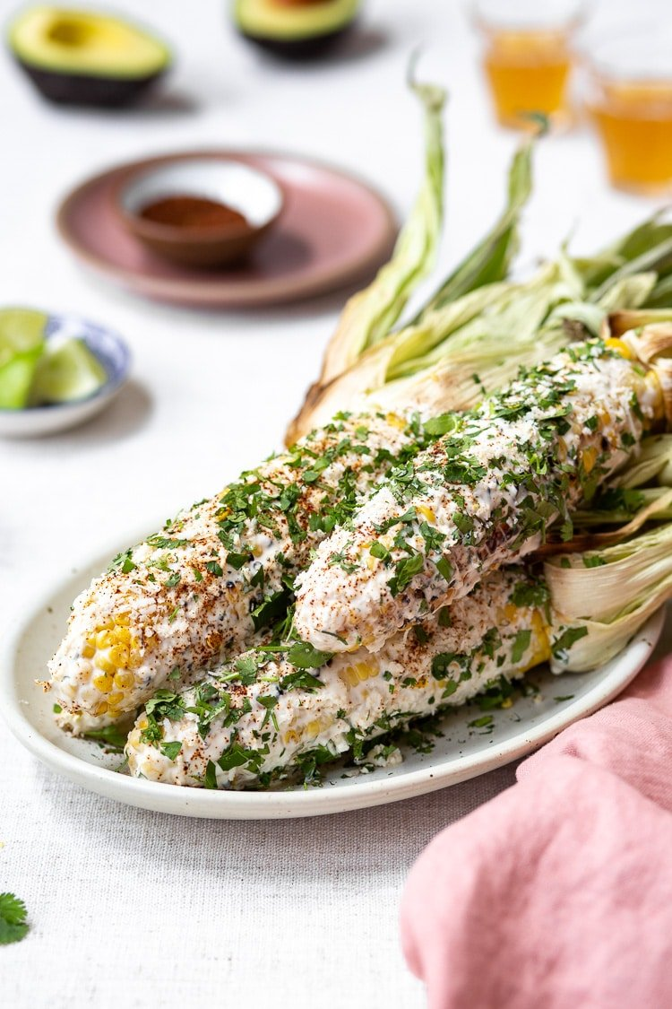 Mexican Street Corn Recipe on a plate - Easy Mexican Dishes