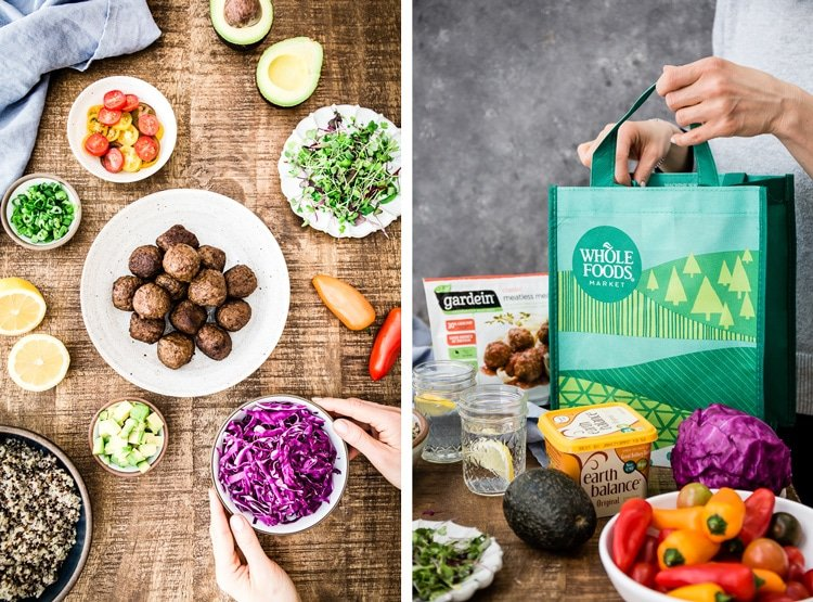 Two images are put together side by side (one showing the ingredients and the other one showing a woman emptying groceries after shopping) for Quinoa Power Bowl