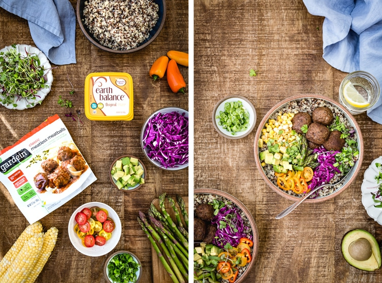 Two images are put together side by side (one showing the ingredients and the other one showing the bowl) for Quinoa Power Bowl