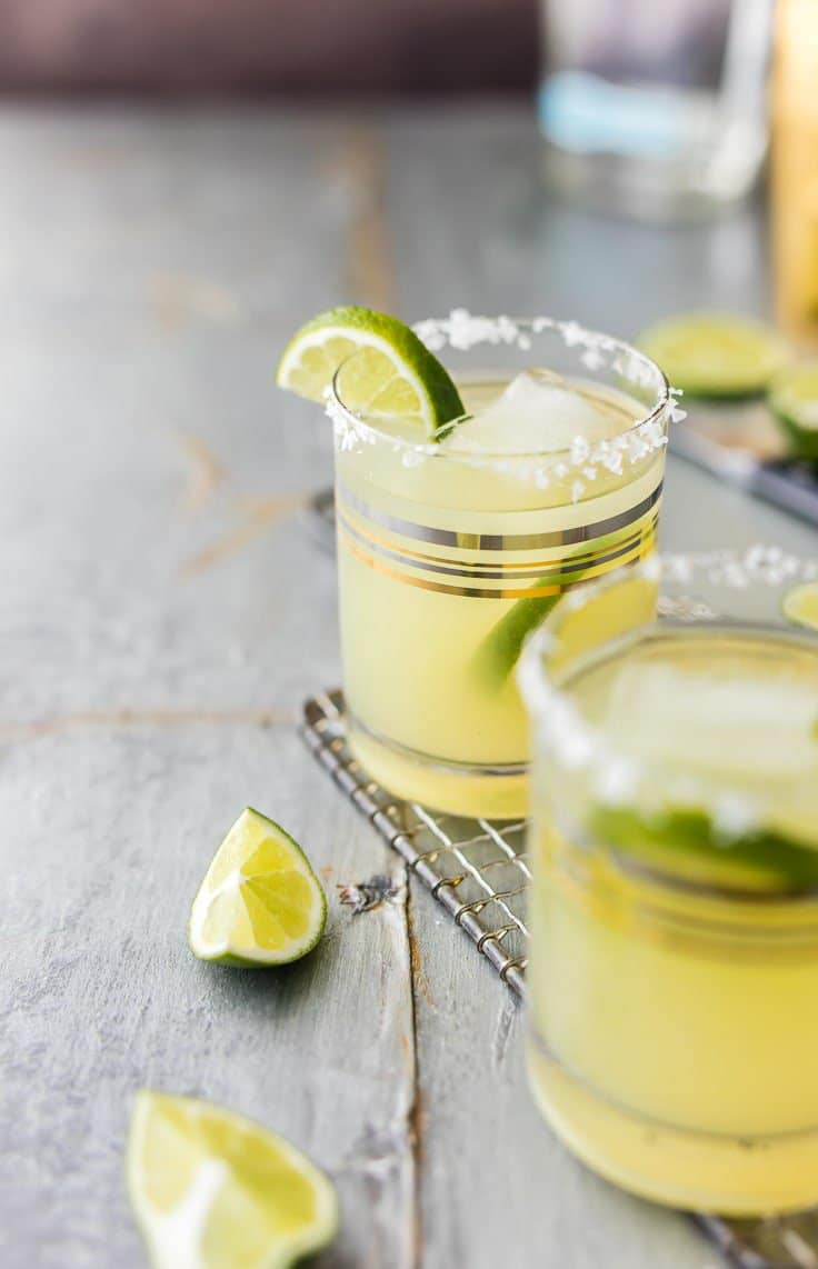 Skinny Margarita garnished with lime and ice