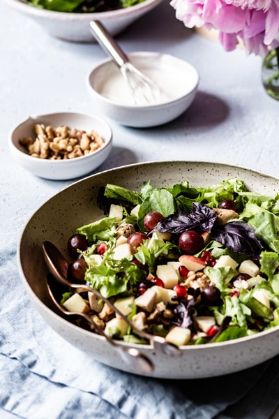 Chicken Waldorf Salad Recipe with the dressing in the background