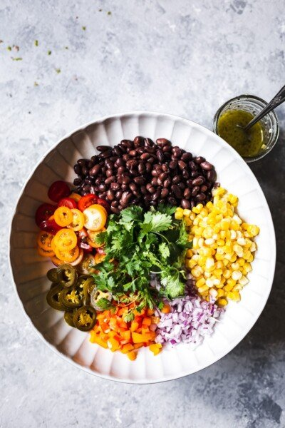 Black bean corn salad photographed from the top view