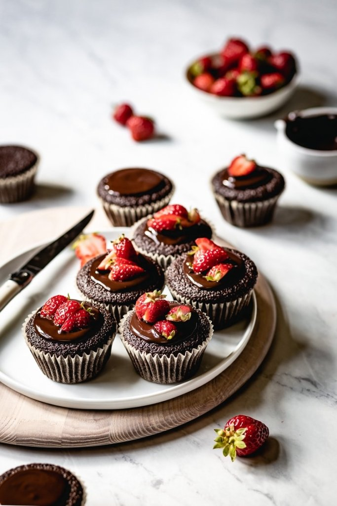 Flourless Chocolate Cupcakes topped off with strawberries