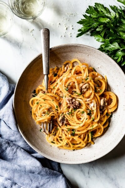 Butternut Squash Noodles with Parmesan and Walnuts