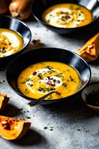 A bowl of Vegetarian Butternut Squash from the front