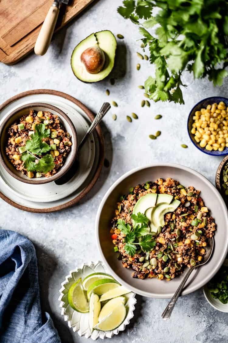 Two bowl of Mexican Style Quinoa photographed from the top view
