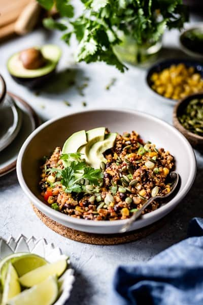 Easy Mexican Quinoa recipe photographed from the front view
