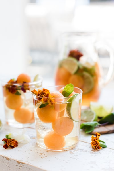 best super bowl cocktails - recipe for GINGER CANTALOUPE SANGRIA