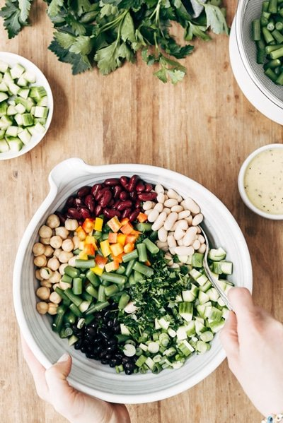 Five Bean Salad as a part of game day appetizers recipe round up