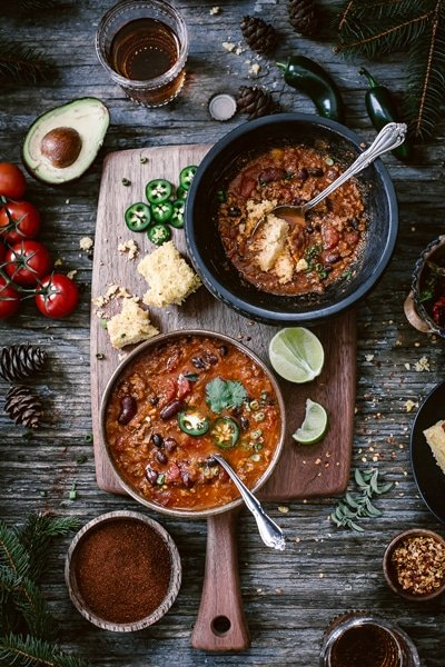 Three Bean Turkey Chili - part of a easy healthy super bowl recipes round up