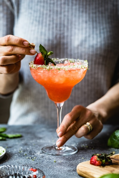Strawberry Champagne Margaritas - cocktails for the super bowl