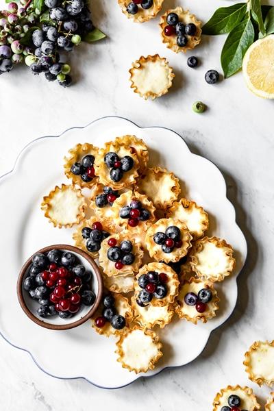 Mini Lemon Tarts with Blueberries - Easy Super Bowl Dessert Recipes