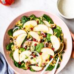 Apple Salad Recipe Healthy served in a bowl by a woman