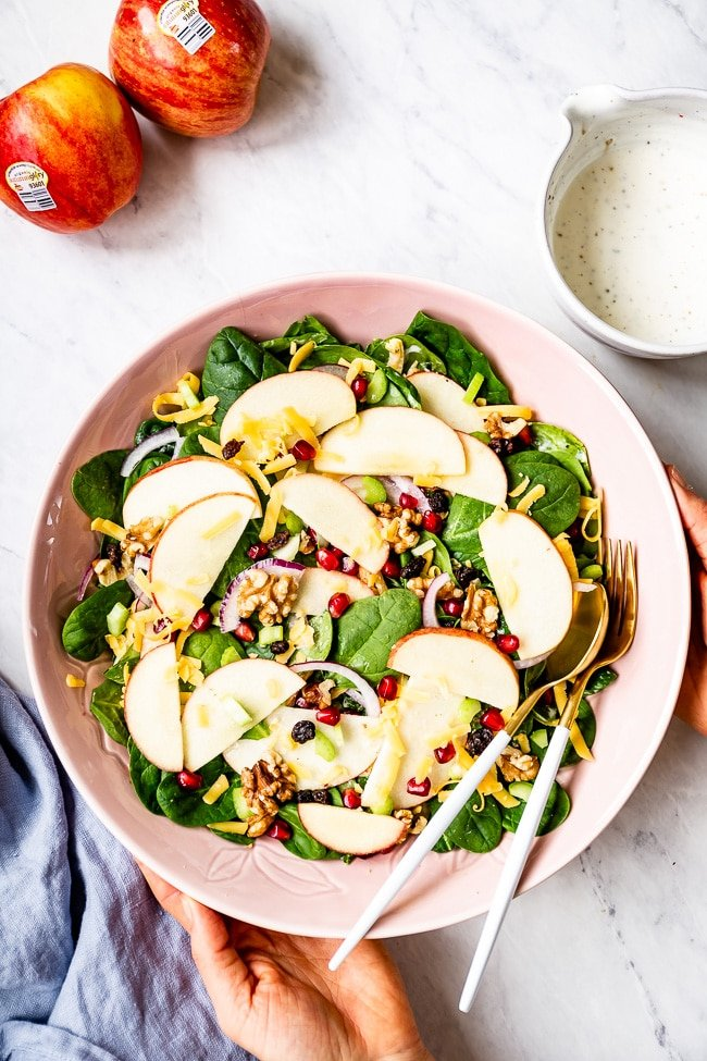 Apple Salad with Yogurt Dressing photographed from the top view.