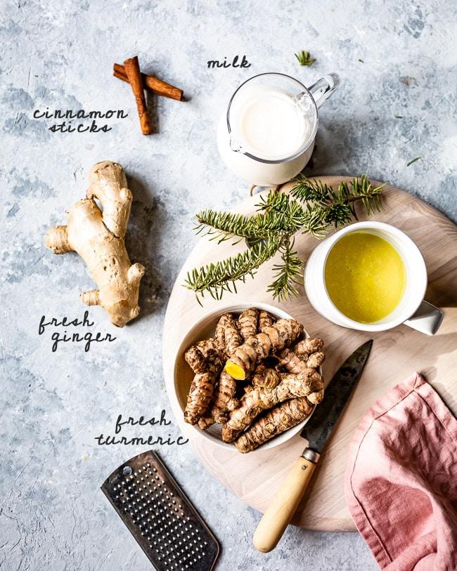 Turmeric golden milk ingredients