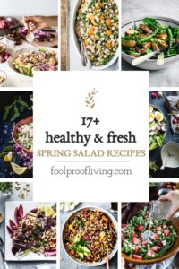 Spring salad recipe collage with text on it