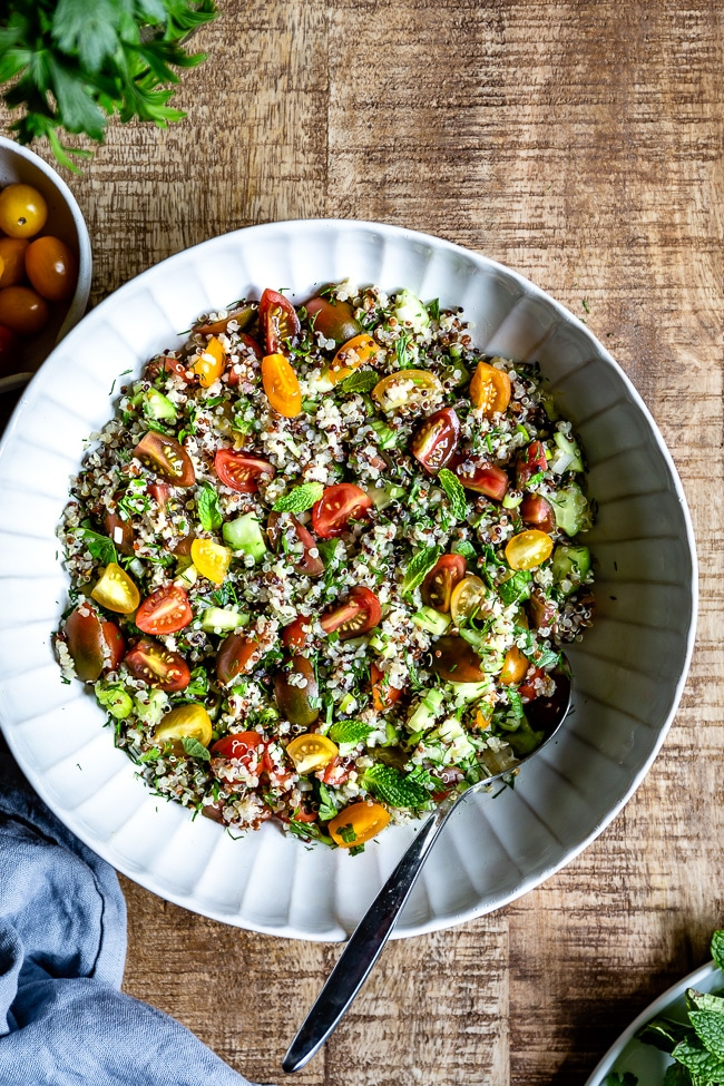 If you are in need of spring salad ideas, look no further because a big bowl of quinoa tabbouleh with all the seasonal fresh herbs is as spring as it gets.