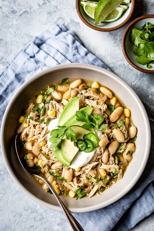Healthy White Chicken Chili Stovetop Crockpot Foolproof Living