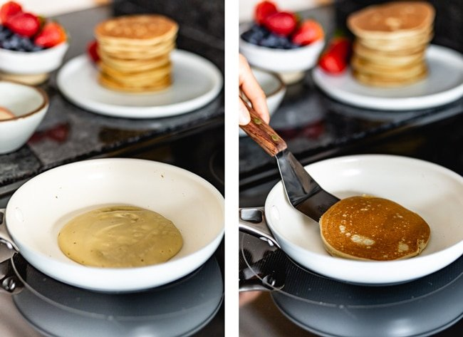 Keto Pancakes with almond flour photographed as they are cooking on the stove top