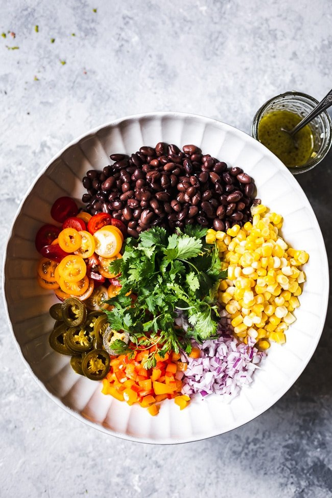 Corn Black Bean Salad served in a bowl