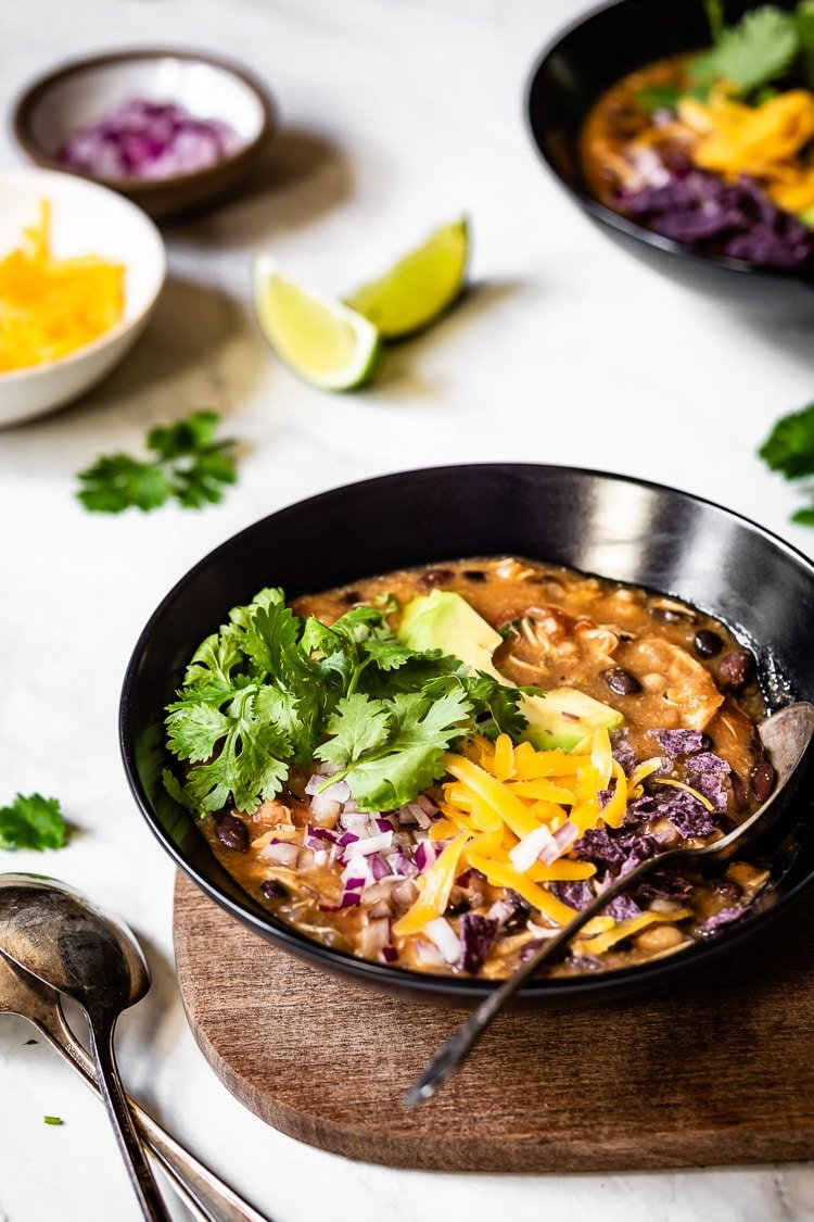 The Best Chicken Chili recipe served in a bowl