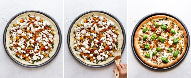 Step by step photos of how to make homemade caprese pizza recipe to perfection