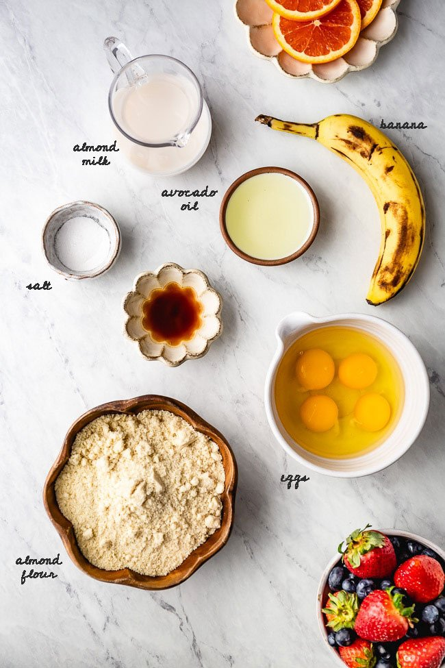 Ingredients for Fluffy Almond Flour Pancakes recipe