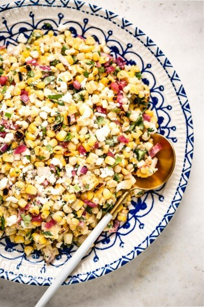 Mexican Street Corn Salad Recipe photographed on a plate