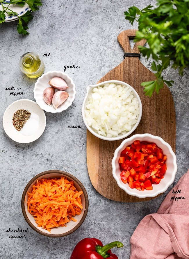 Ingredients for the vegetable portion outlined in detail and photographed from the top view.