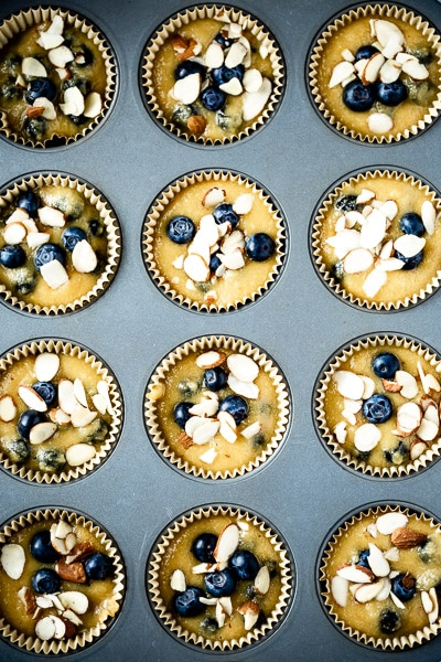 gluten free lemon blueberry muffins are photographed in the muffin tin before they are baked