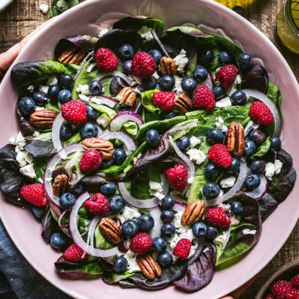Blueberry Salad recipe serve in a bowl by a person
