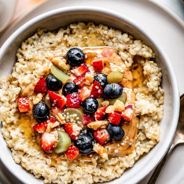 A Bowl of Healthy Pressure Cooker Steel Cut Oats Recipe topped off with fresh fruit
