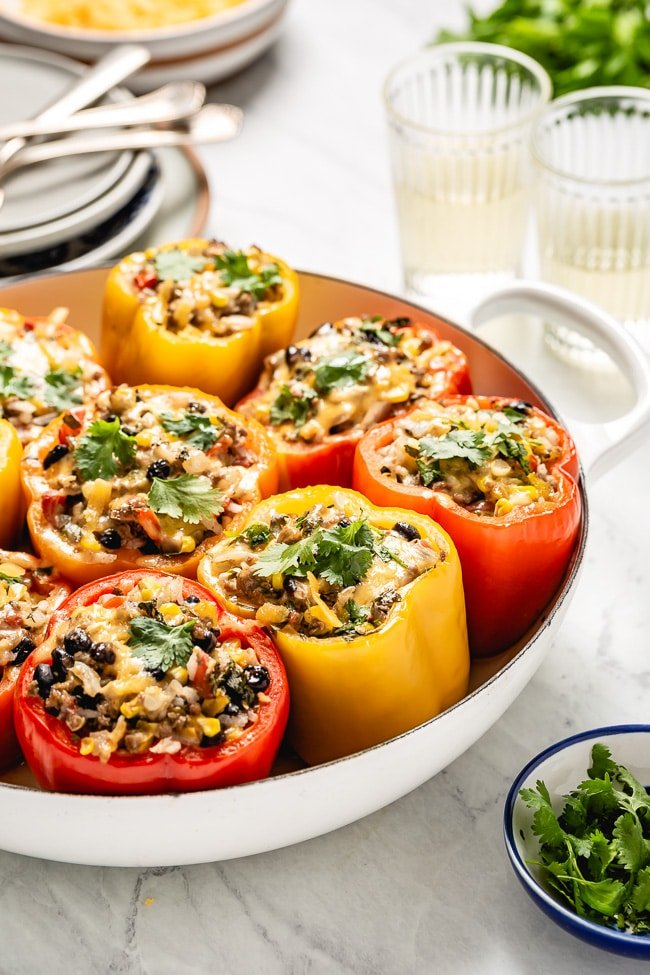 Mexican Stuffed Peppers recipe photographed right after it came out of the oven.