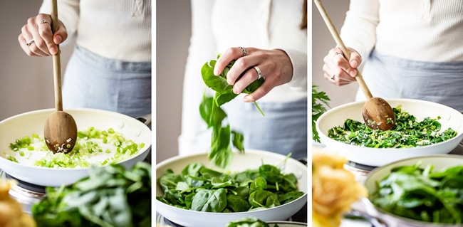 Learn how to make spinach frittata with step by step photos