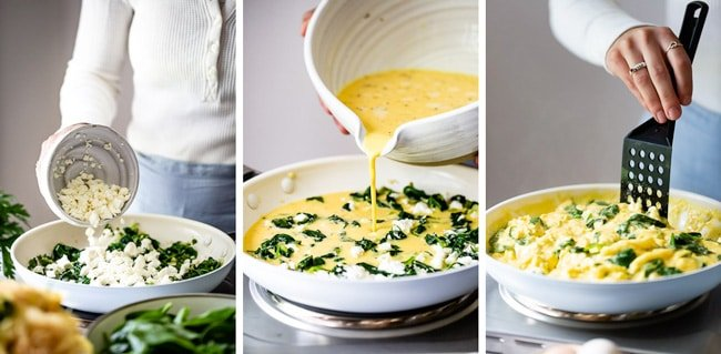 Egg frittata recipe made with spinach eggs and feta cheese photographed with step by step photos