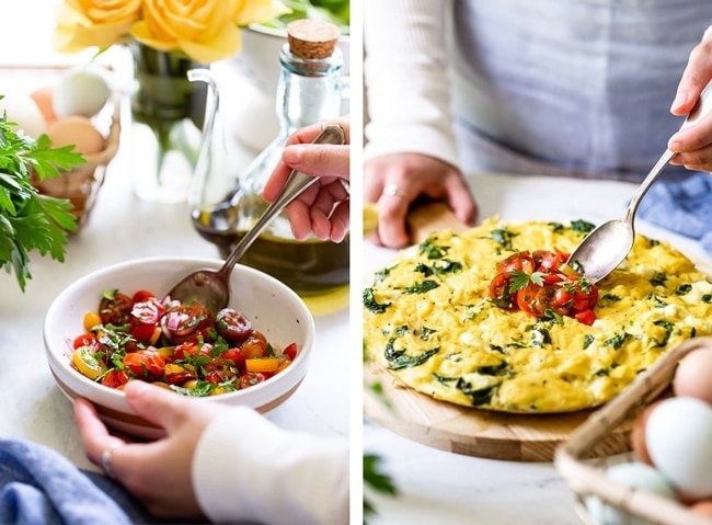 A woman is preparing tomato sauce for egg frittata and placing it on eggs