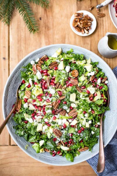 Brussels Sprout Kale Salad in a bowl from the top view