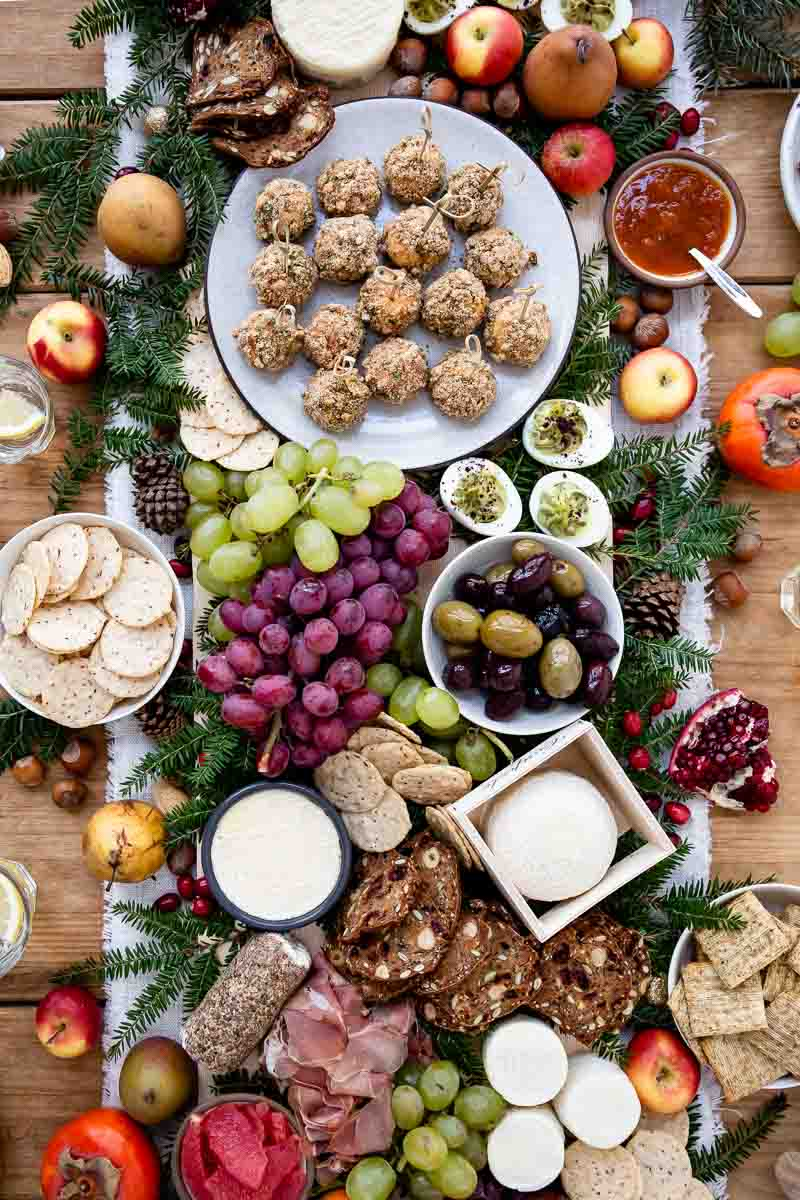 Easy goat cheese appetizers - goat cheese platter set up with olives and fruits