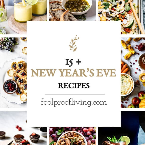New Years Eve Appetizers, Cocktails, and Dessert cover page (round up recipes photos)