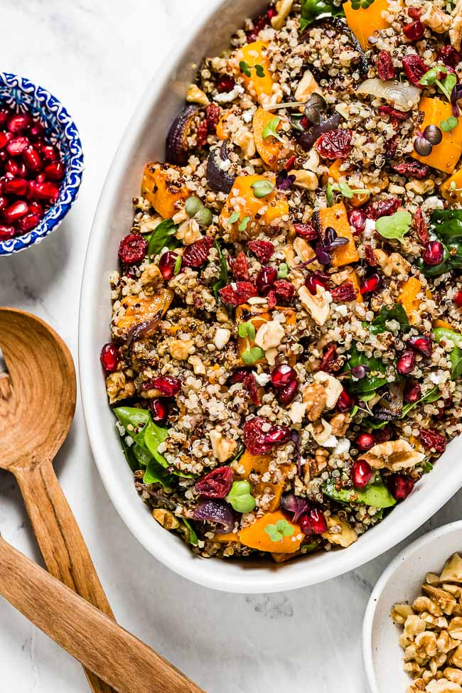 Roasted Butternut Squash Quinoa Salad with Cranberries and Spinach photographed from the top view