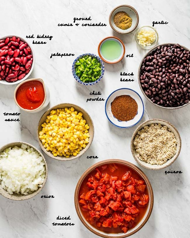 All of the Ingredients for this recipe are photographed from the top view
