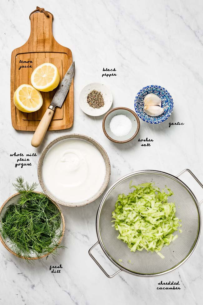 All of the ingredients for this recipe are laid out with their names written on them