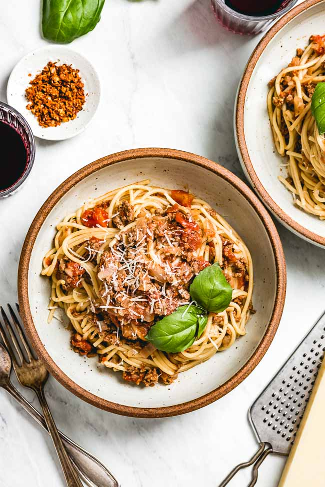 Pasta Bolognese in a bowl from the top view