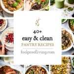 Pantry recipes collage with text on the photo