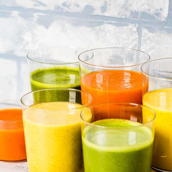 Colorful Turmeric Smoothies in glasses